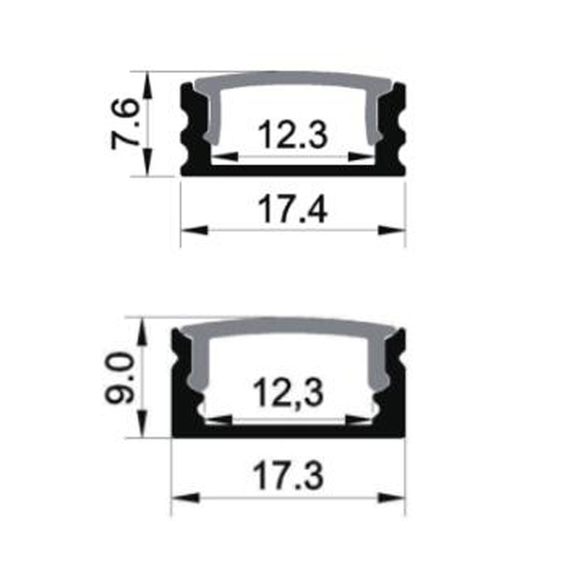 1707 Surface Mounted LED Aluminum Profile for Flexible LED Light Strip
