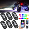 RGB LED Rock Lights Phone APP Remote Control Timing Music Mode 6 Pods Multicolor Neon LED Light Kit Waterproof AUTO Exterior Underglow Lighting for Jeep Car Truck ATV UTV SUV Off road