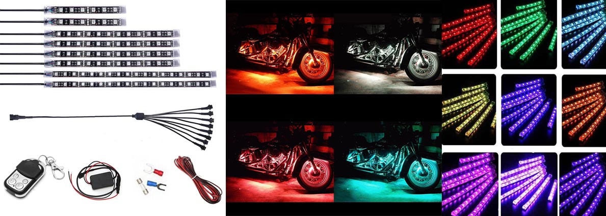 8pcs Motorcycle Led Light Flexible Strip Kit Multi Color