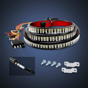 "60"" Triple 504 LEDs Truck Tailgate Side Bed Light Bar Strip Sequential Amber Brake Running Turn Signal Red/White Reverse"