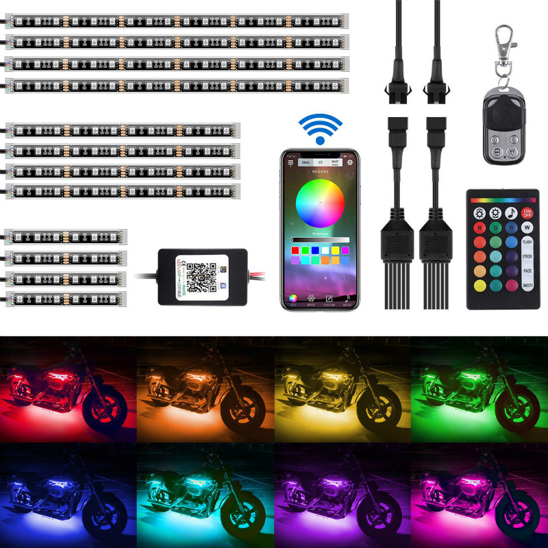 12Pcs Motorcycle LED Light Kit Strips APP/IR/RF Wireless Underglow Neon Lights Atmosphere Lamp with Remote Controller for Harley Davidson Kawasaki Suzuki.