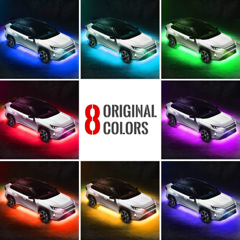 Car Neon Underglow Lights Waterproof RGB LED Strip Light Multi-colored Underbody Exterior Lighting Kit with Music Mode, Wireless Remote Control, Adjustable Brightness.